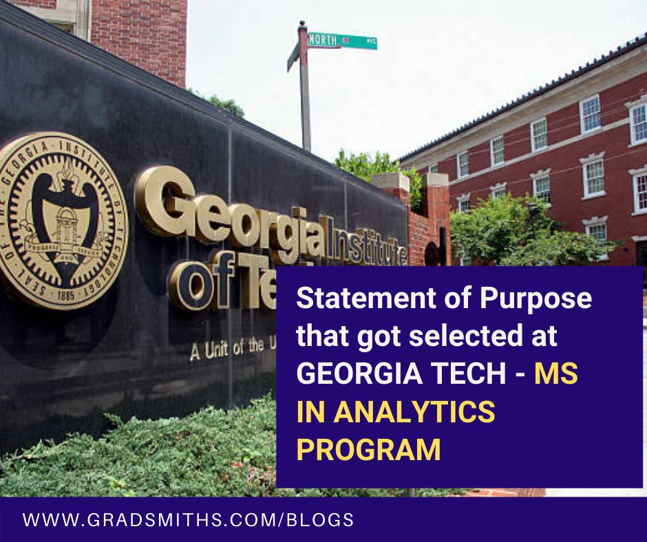 Statement of Purpose, analytics, master of science